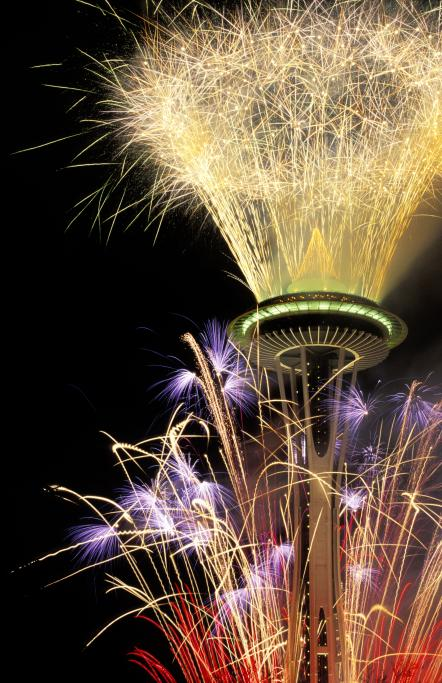 Fireworks at the Space Needle, New Years, 2005. The entry for Tuesday,